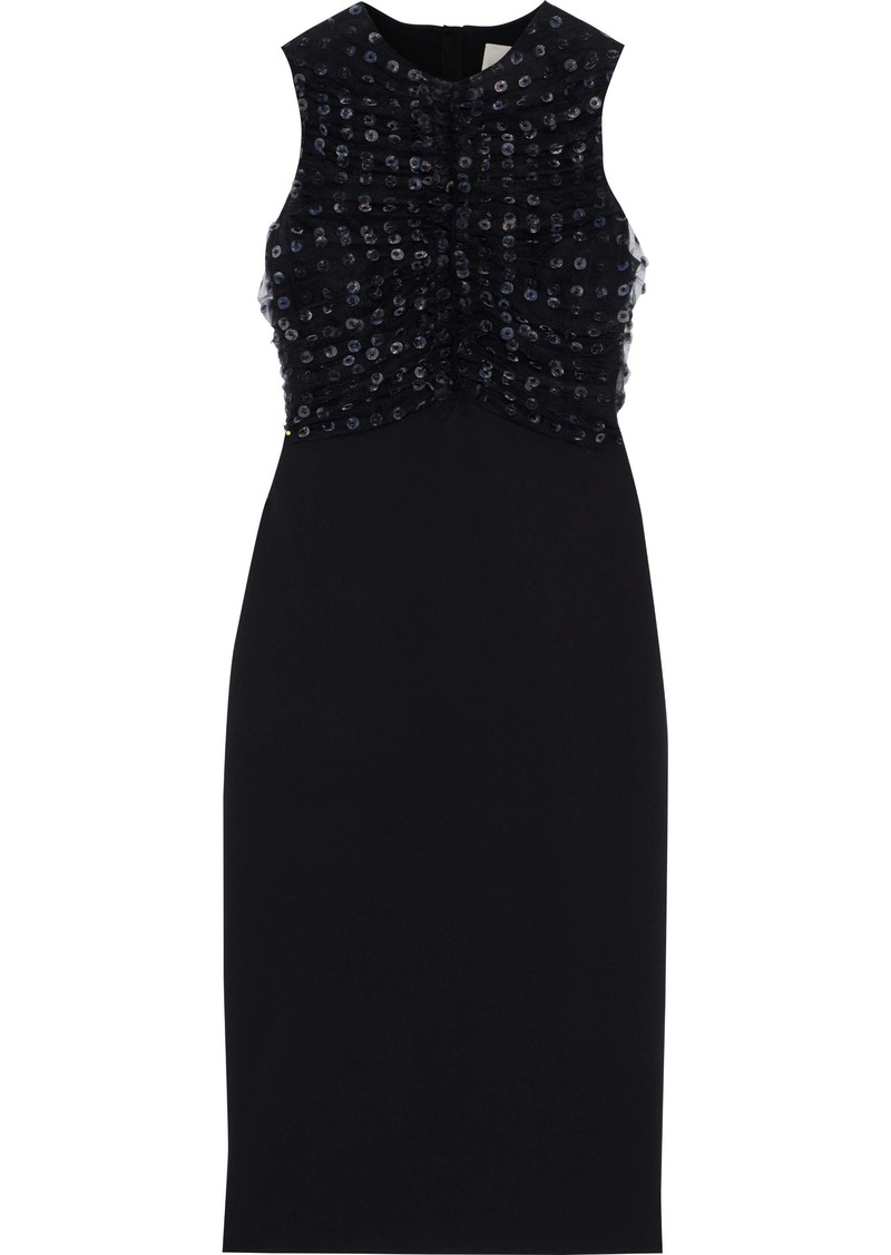 Jason Wu Woman Appliquéd Ruched Tulle-paneled Cady Dress Black