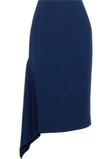 Jason Wu Woman Asymmetric Checked Wool Skirt Navy