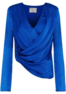 Jason Wu Woman Asymmetric Draped Silk-satin Top Bright Blue