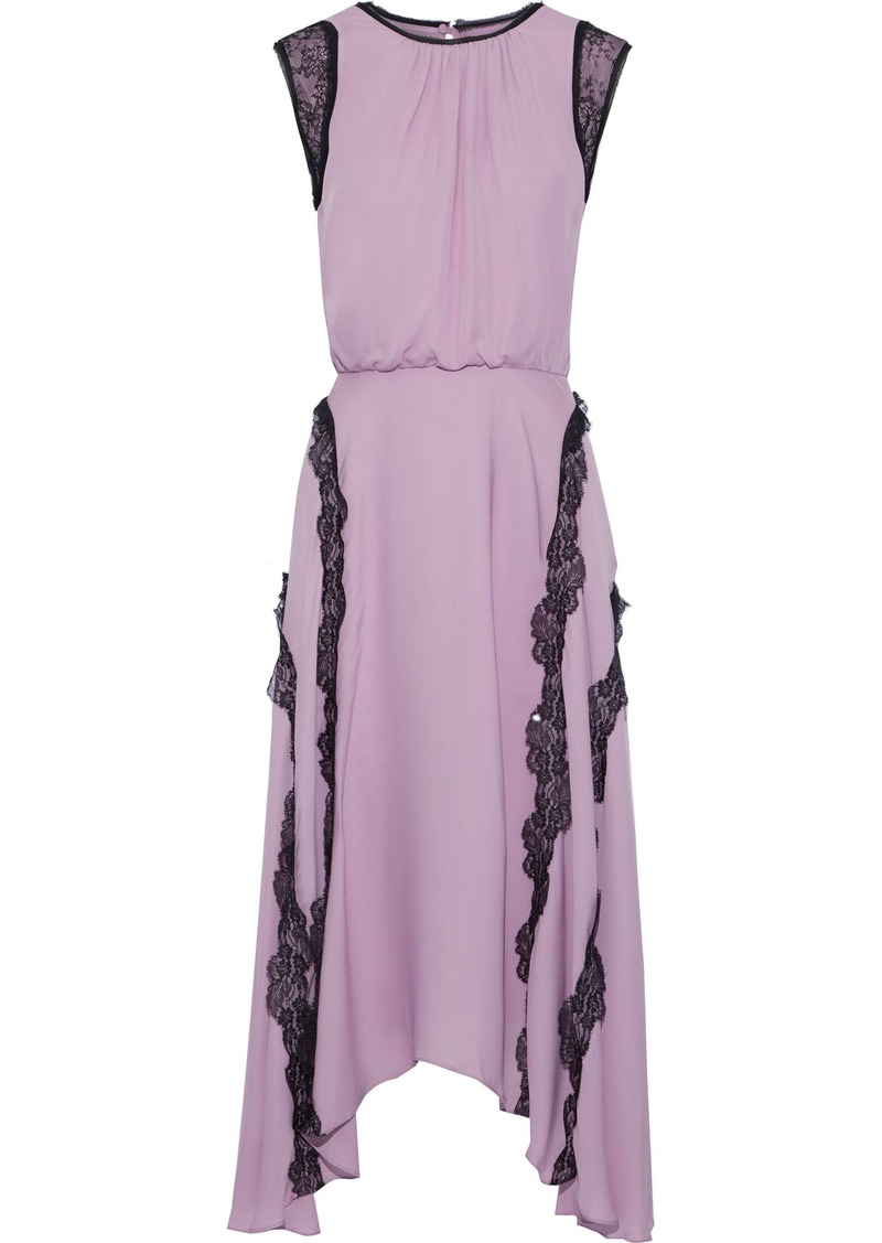 Jason Wu Woman Asymmetric Lace-trimmed Silk Crepe De Chine Midi Dress Lavender