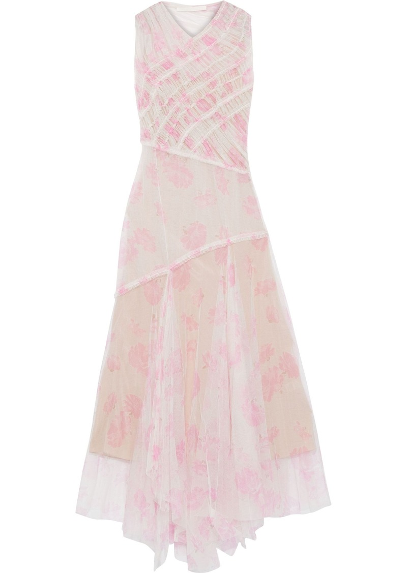 Jason Wu Woman Asymmetric Ruched Floral-print Tulle Maxi Dress Ivory