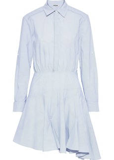 Jason Wu Woman Asymmetric Striped Cotton-poplin Mini Shirt Dress Sky Blue