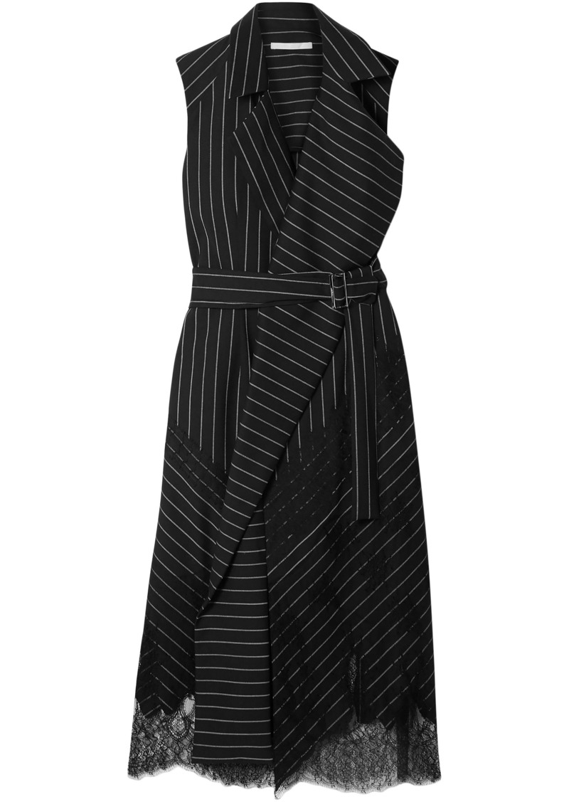 Jason Wu Woman Belted Chantilly Lace-trimmed Pinstriped Stretch-wool Wrap Dress Black
