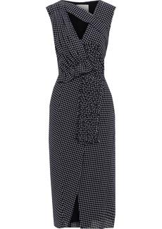 Jason Wu Woman Braid-trimmed Cutout Checked Wool Midi Dress Black