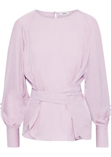 Jason Wu Woman Button-detailed Crinkled Twill Blouse Lavender