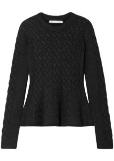 Jason Wu Woman Cable-knit Wool-blend Peplum Sweater Charcoal