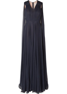 Jason Wu Woman Cape-back Pleated Silk-georgette Gown Navy