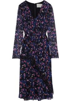 Jason Wu Woman Chantilly Lace-trimmed Pleated Floral-print Silk-georgette Dress Black