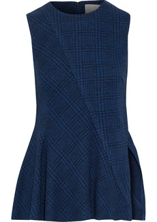Jason Wu Woman Checked Wool Peplum Top Navy