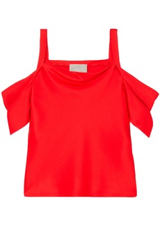 Jason Wu Woman Cold-shoulder Draped Silk-satin Top Red
