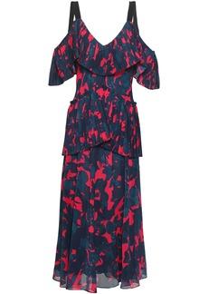 Jason Wu Woman Cold-shoulder Floral-print Georgette Peplum Midi Dress Storm Blue