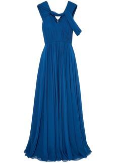 Jason Wu Woman Cold-shoulder Pleated Silk-chiffon Gown Royal Blue