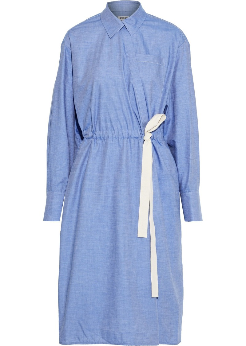 Jason Wu Woman Cotton-chambray Wrap Dress Light Blue