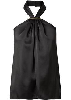 Jason Wu Woman Embellished Satin Halterneck Top Black