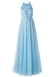 Jason Wu Collection Woman Floral-appliquéd Pleated Tulle Halterneck Gown Light Blue