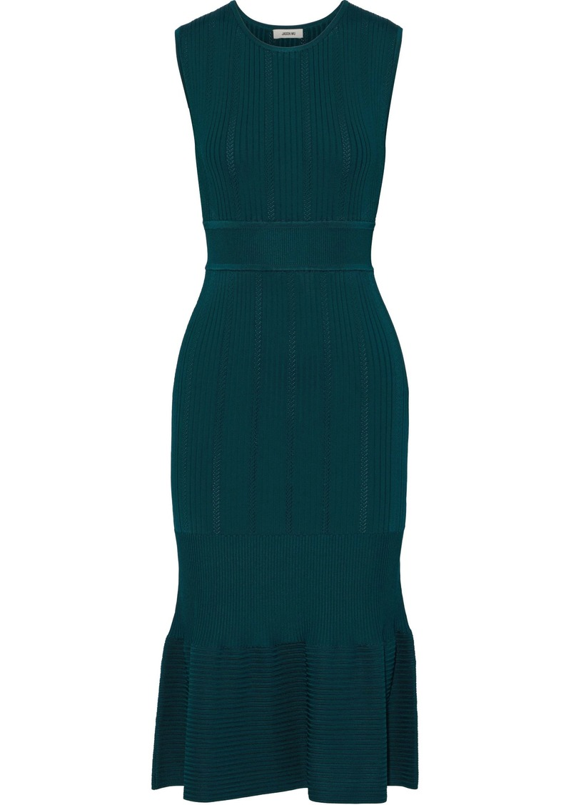 Jason Wu Woman Fluted Ribbed-knit Dress Petrol