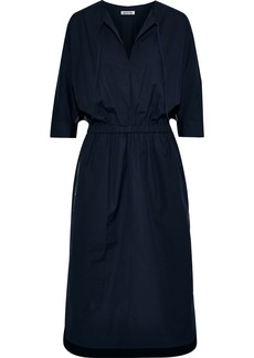 Jason Wu Woman Gathered Cotton-blend Poplin Midi Dress Midnight Blue