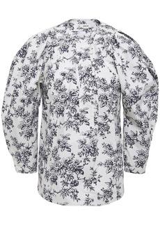 Jason Wu Woman Gathered Floral-print Cotton-poplin Blouse White