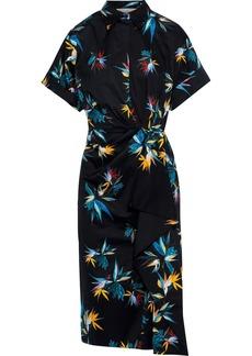 Jason Wu Woman Gathered Floral-print Cotton-poplin Shirt Dress Black