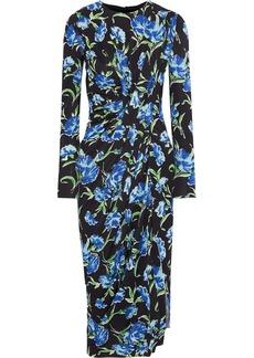 Jason Wu Woman Gathered Floral-print Stretch-cady Dress Black