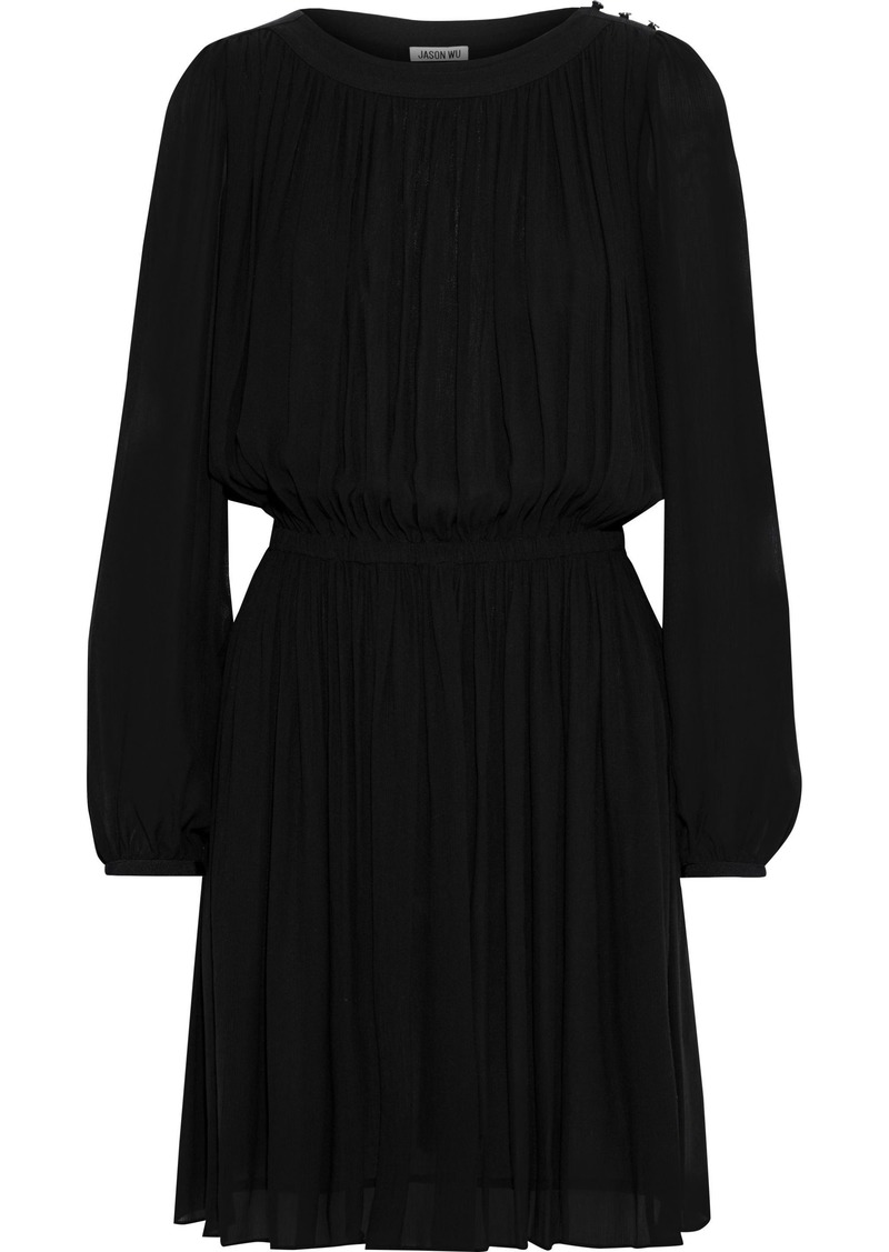 Jason Wu Woman Gathered Georgette Mini Dress Black