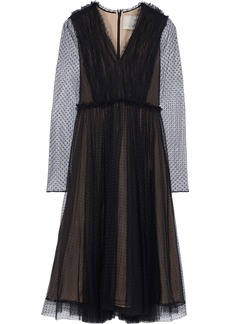 Jason Wu Woman Gathered Point D'esprit Midi Dress Black