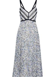 Jason Wu Woman Georgette-trimmed Floral-print Silk-jacquard Midi Dress Light Blue