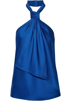 Jason Wu Woman Draped Satin-crepe Halterneck Top Bright Blue