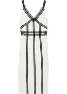 Jason Wu Woman Lace-trimmed Charmeuse Midi Slip Dress White
