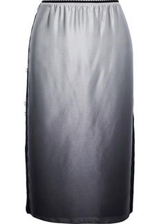 Jason Wu Woman Lace-trimmed Dégradé Silk-charmeuse Skirt Anthracite