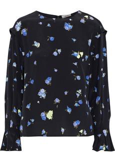 Jason Wu Collection Woman Lace-trimmed Floral-print Silk Crepe De Chine Blouse Black