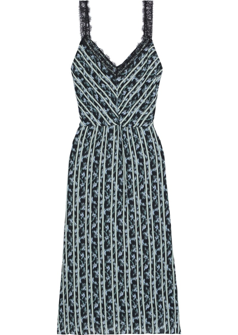 Jason Wu Woman Lace-trimmed Printed Crepe De Chine Midi Dress Light Blue