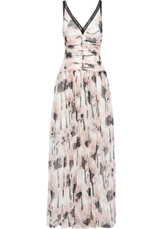 Jason Wu Woman Lace-trimmed Ruched Printed Silk-georgette Gown Pastel Pink
