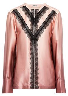 Jason Wu Woman Lace-trimmed Dégradé Silk-charmeuse Blouse Antique Rose