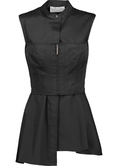 Jason Wu Woman Layered Corset-effect Cotton-twill Peplum Top Black