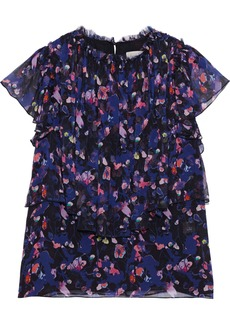 Jason Wu Woman Layered Floral-print Silk-georgette Blouse Black