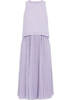 Jason Wu Woman Layered Pleated Pinstriped Georgette Midi Dress Lilac