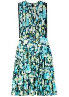Jason Wu Woman Layered Tulle-trimmed Printed Chiffon Dress Lime Green