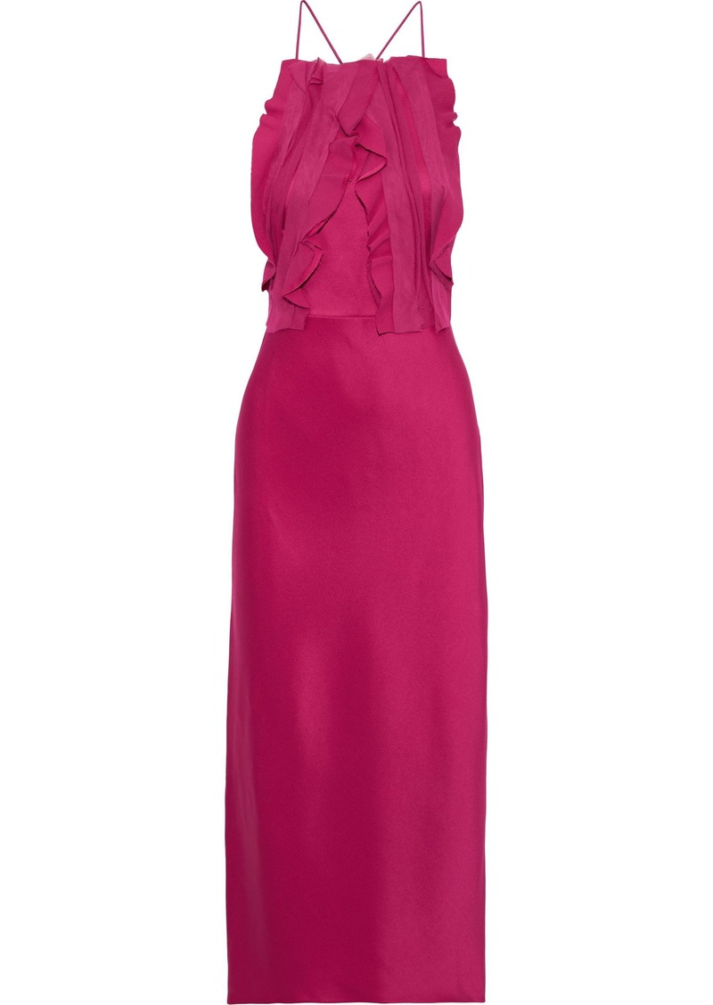 Jason Wu Woman Open-back Ruffled Chiffon-trimmed Satin-crepe Midi Dress Magenta