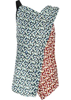 Jason Wu Woman Paneled Printed Silk-georgette Top Light Blue