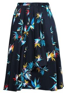 Jason Wu Collection Woman Pleated Floral-print Cotton-poplin Skirt Black