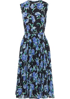 Jason Wu Woman Pleated Floral-print Georgette Dress Black
