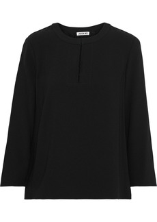 Jason Wu Woman Pleated Lace-paneled Crepe De Chine Blouse Black