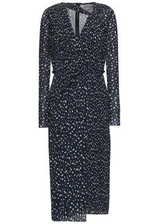 Jason Wu Woman Pleated Printed Georgette Midi Dress Black