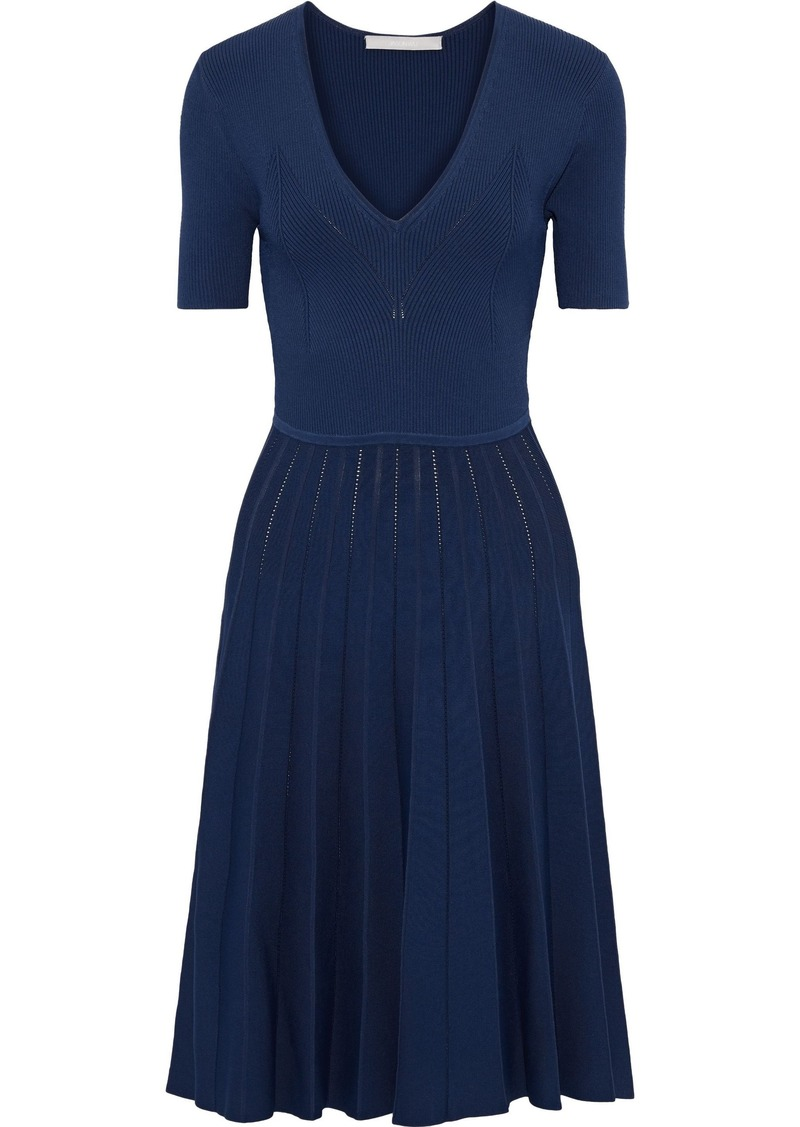 Jason Wu Woman Pleated Ribbed-knit Dress Blue
