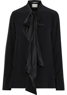 Jason Wu Woman Pussy-bow Charmeuse-trimmed Silk Crepe De Chine Blouse Black