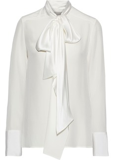 Jason Wu Woman Pussy-bow Charmeuse-trimmed Silk Crepe De Chine Blouse White