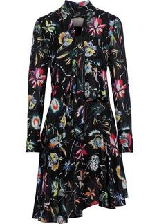 Jason Wu Woman Pussy-bow Ruffled Floral-print Chiffon Dress Black