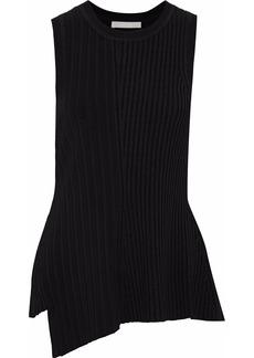 Jason Wu Woman Ribbed-knit Peplum Top Black