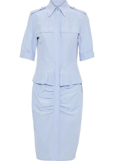 Jason Wu Woman Ruched Cotton And Silk-blend Poplin Shirt Dress Light Blue